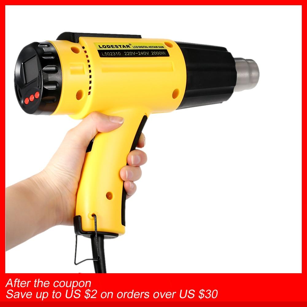 2000 Вт AC220 цифровой электрический фена Температура контролируемых строительный фен тепла пистолет для пайки Регулируемый + насадка