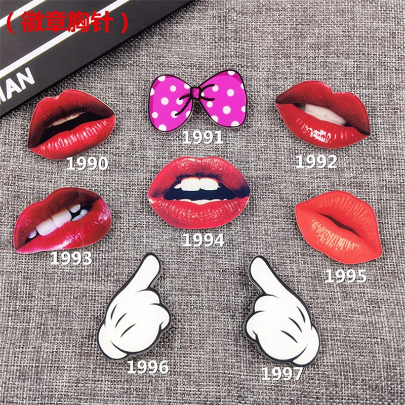Cartoon badge Fashion Jewelry Cute Cartoon Gesture Brooches Charm red lip Brooch Pins Accessories  XZ53