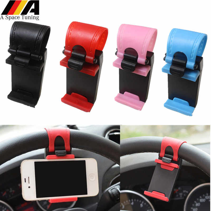 New Car Phone Holder Mounted on Steering Wheel Cradle Smart Mobile Phone Clip Mount Holder Rubber Band For Samsung iPhone Xiaomi