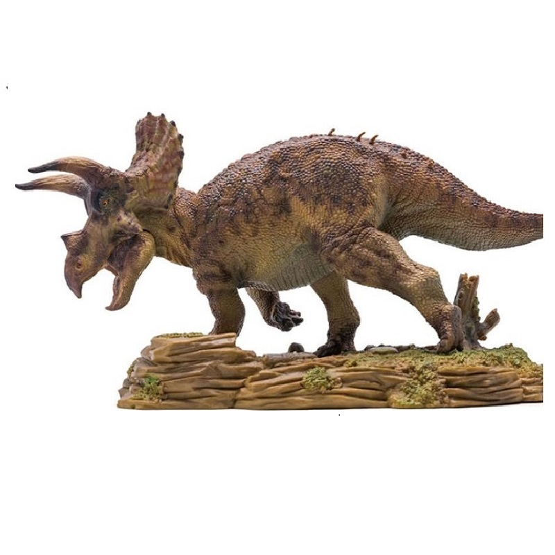 PNSO Triceratops With Pedestal Platform Dinosaur Movable Jaw Classic Toys For Boys Collection Animal Model