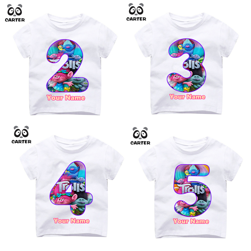 Detail Feedback Questions About Kids Cartoon Trolls Number 19th T Shirts Happy Birthday Top Custom Shirt Print Your Name Gift