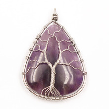 FYJS Unique Silver Plated Wire Wrap Tree of Life Water Drop Pendant Natural Amethysts Stone Jewelry fyjs unique silver plated wire wrap irregular shape trapezoid natural purple amethysts earrings stone jewelry