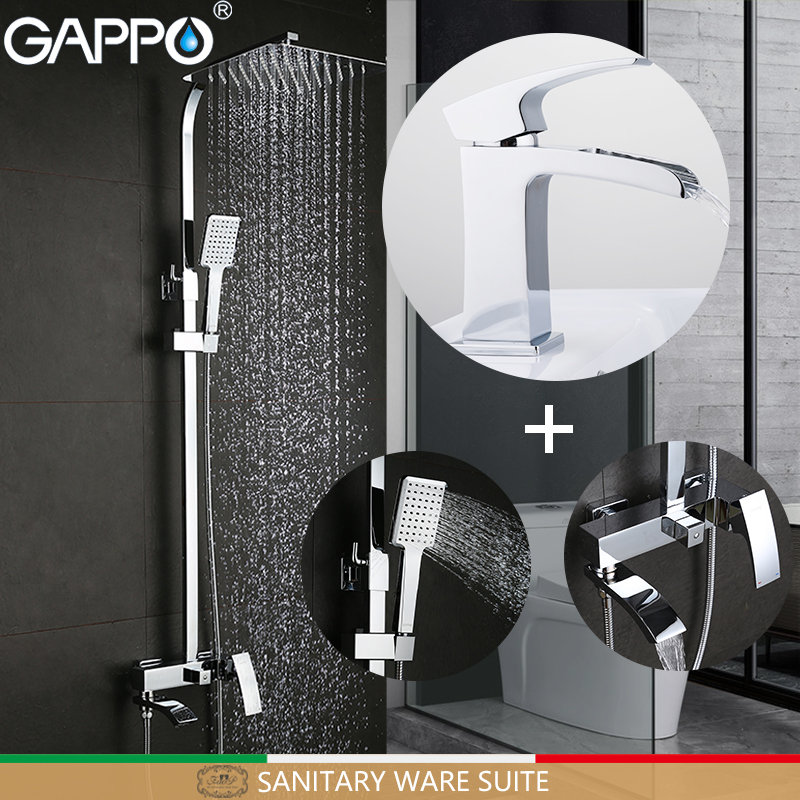 GAPPO Sanitary Ware Suite shower set with basin faucet wall bathroom faucet mixer chrome bath faucet mixers torneira