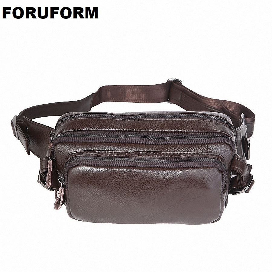 Fashion Genuine Leather Waist Bag Men Pack Leather Belt Bag Cowhide Waist Pack Money Belt Waist Pouch Men Messenger Bag LI-1516 cuwhf vintage men s leather purse waist bag black adjusted belt bag man casual waist pack pouch brief design fashion waist bag
