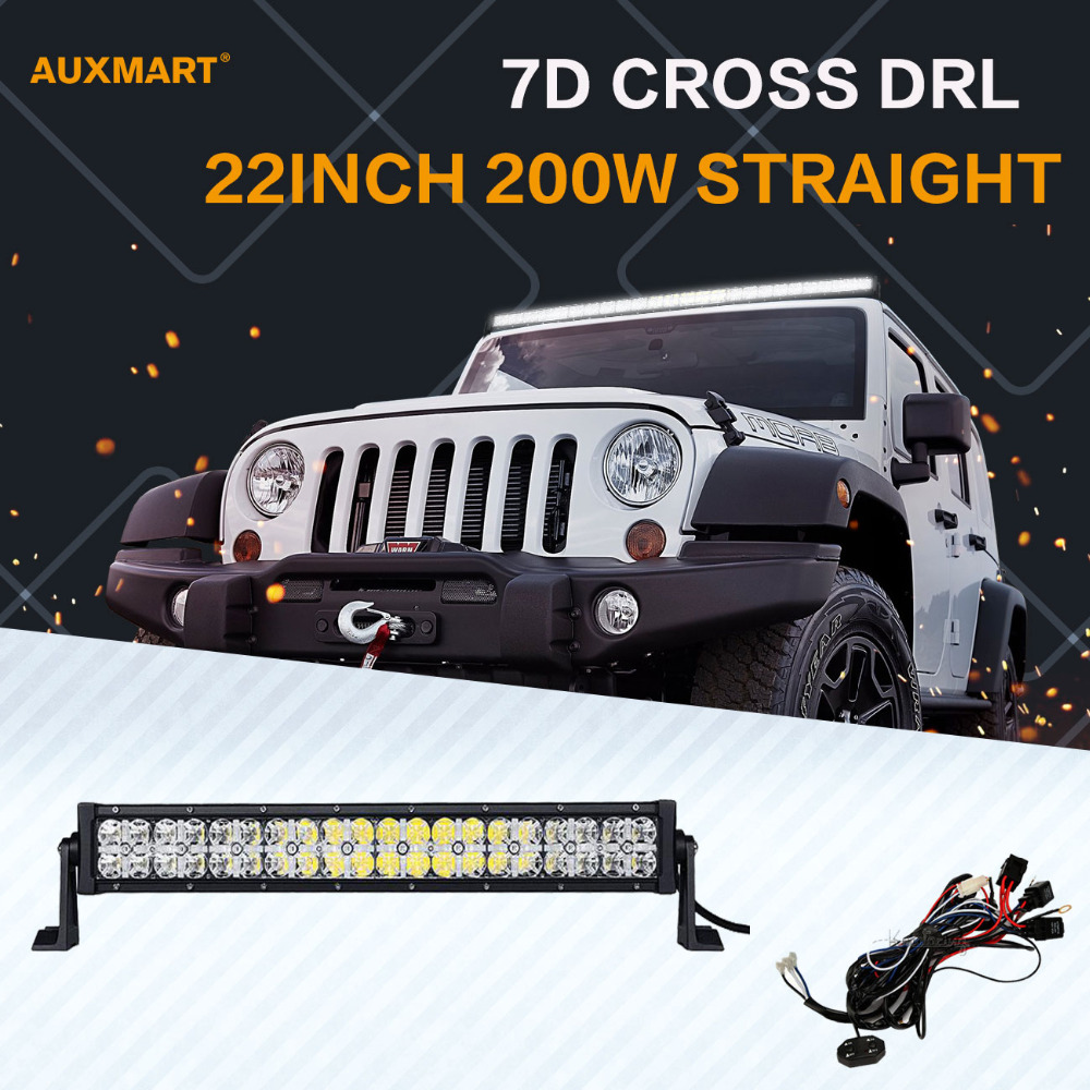 Auxmart 7D 22inch 200W LED Light Bar Spot Flood Combo Beam DRL Offroad 12v 24v Bar Light for SUV ATV RZV 4x4 4WD Truck Trailer стоимость