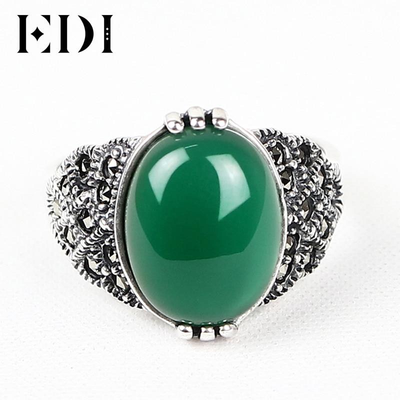retro emerald ring 925 silver green jade rings finger