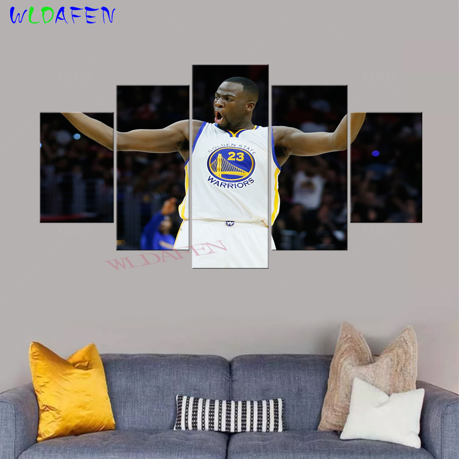 ee5548fdd4c 5 Panel Print Canvas Draymond Green Basketball Poster Golden State  Basketball Warriors Wall Pictures for Living Room Art-in Painting    Calligraphy from Home ...