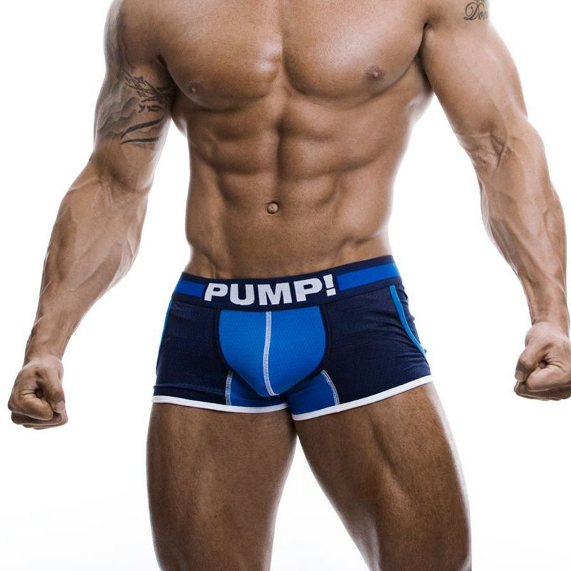 Fashion JOGGER Mesh Pockets Boxer shorts PUMP Brand men underwear boxer Trunks Cotton Body Sexy Mesh