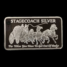 5 Pcs Non magnetic Stagecoach silver coin 1 OZ plated ingot  badge 50 mm x 28 souvenir collectible decoration bar