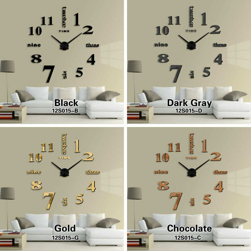 buy new home decoration big mirror wall clock modern design 3d diy large decorative wall clocks watch wall unique gift from reliable