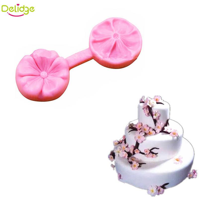 Delidge 1 قطعة أزهار الكرز زهرة قالب الكعكة سيليكون زهرة صغيرة فندان قالب كب كيك قالب صابون السكر كرافت لصق الخبز قوالب