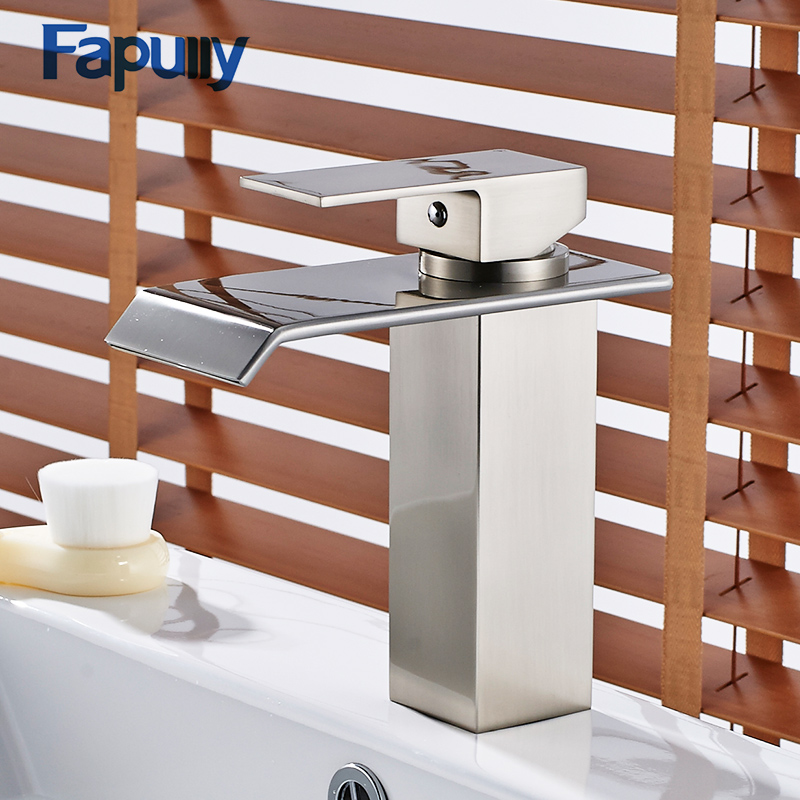 Fapully Chrome Finish Bathroom Waterfall Basin Faucets Single Handle Bath Mixer Faucet Cold Hot Vanity Sink Mixer Tap ceramic single handle bathroom vanity sink mixer tap chrome finished