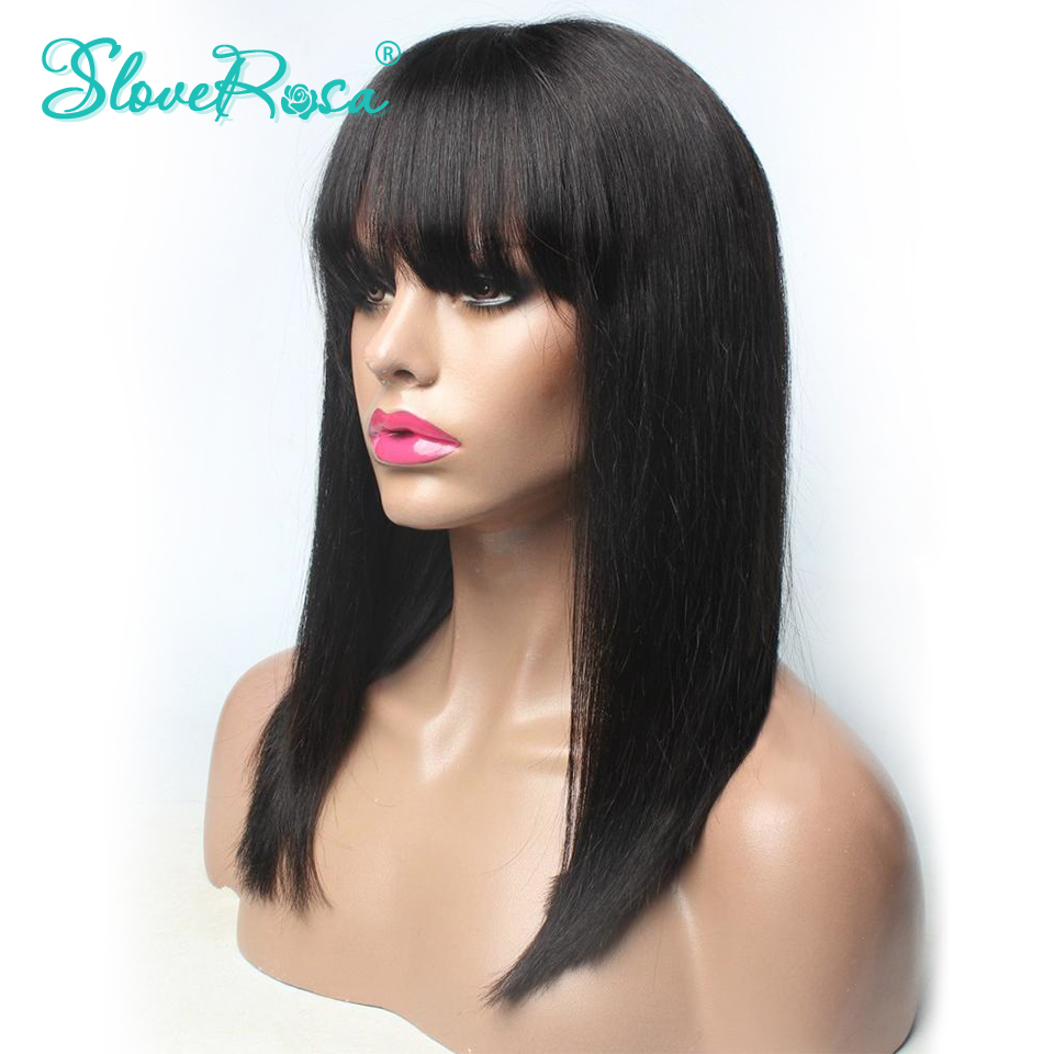 Lace Front Human Hair Wigs With Thick Bangs Peruvian Non Remy Hair Pre Plucked Bob Wig