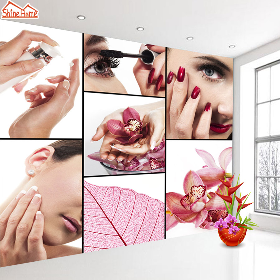 ShineHome- Fashion SPA Nail Salon Beauty Cosmetic 3d Wallpaper Wallpapers Photo Walls Murals for 3 d Background Roll Wall Paper shinehome sunflower bloom retro wallpaper for 3d rooms walls wallpapers for 3 d living room home wall paper murals mural roll