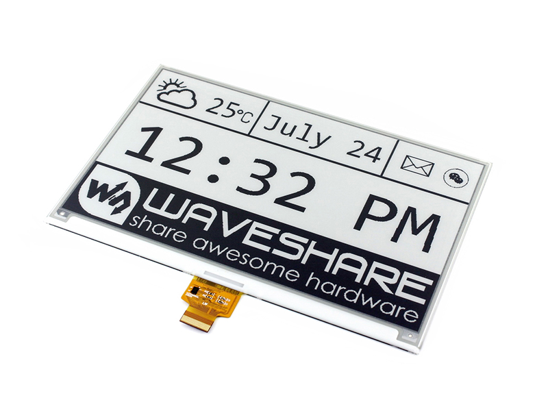 Waveshare 7.5inch E-Ink Raw Display 640x384 Black White e paper SPI interface compatible with Raspberry Pi 2B/3B/3B+/Zero/Zero W 7 5inch e paper hat c 640x384 e ink display module three color spi interface compatible with raspberry pi 2b 3b zero zero w