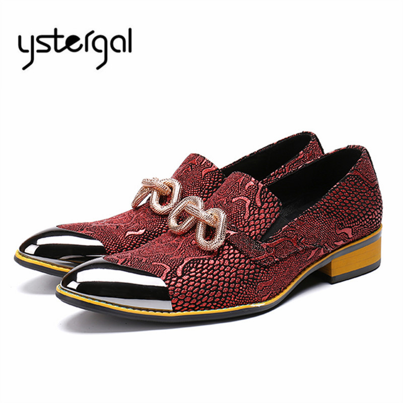 YSTERGAL Handmade Red Men Oxfords Metal Decor Wedding Dress Shoes Man Slip On Business Formal Leather Shoes Mens Flats high quality men casual business wedding formal dress bright patent leather shoes gentleman flats oxfords shoe slip on zapatos