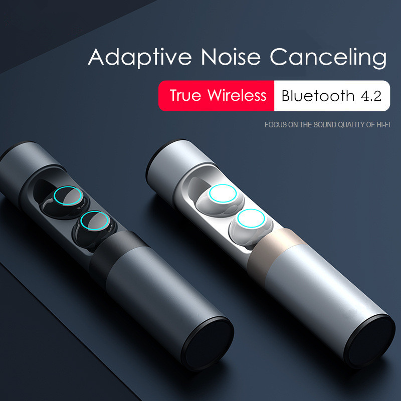 NEW Wireless TWS Adaptive Noise Canceling Pure ANC HiFi Bluetooth 4.2 Earphone With Charger Box Waterproof IPX5 2018 new mini tws wireless bluetooth5 0 ipx5 waterproof and sweat proof sports earphone with led charger box for mobile phone