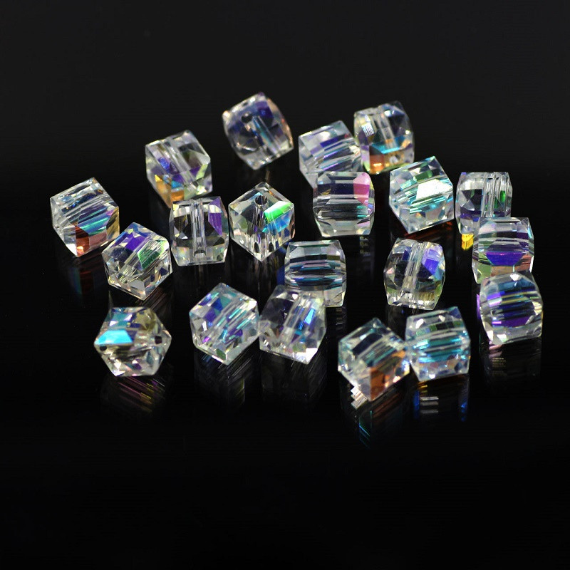 AB Color Crystal Square Beads para la fabricación de joyas de vidrio decorativo DIY Beads Material Crystal Cube Clear Beads 2 3 4 6 8 10mm