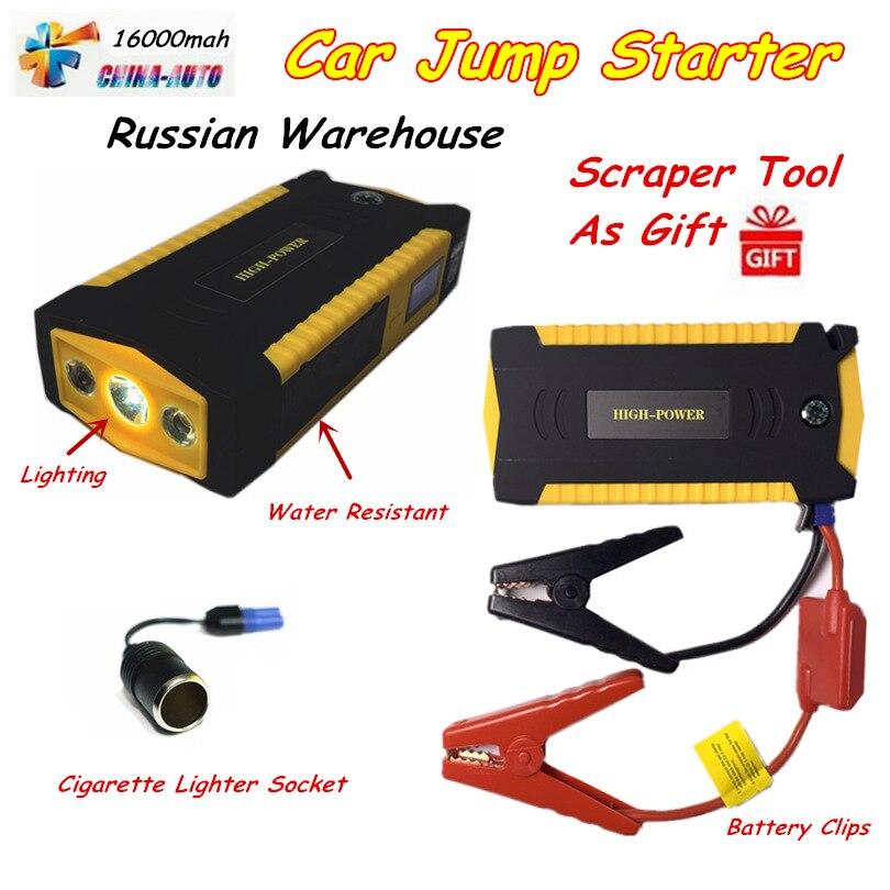 Portable Démarreur Voiture De Saut 16000 mah batterie externe D'urgence Auto amplificateur de batterie Pack Véhicule Jump Starter Mieux Que 68800 mah