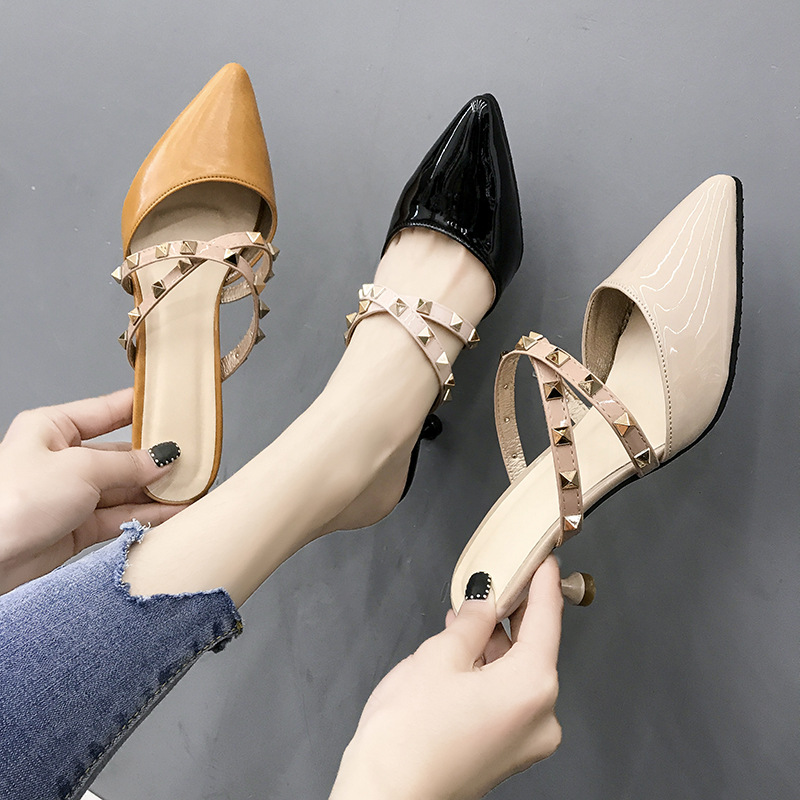 Women Pumps Shoes 6cm High Heels Slippers Ladies Female Slides Fashion Outdoor Rivet Lady Woman Mules Shoes Slippers For Women