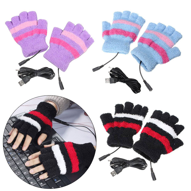 1Pair USB Powered Heated Gloves Electric Thermal Gloves Hand Warmer LBY2018