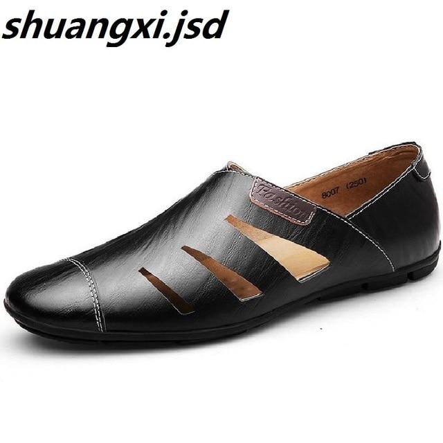 dd4bb73625cd Männer Sandalen Strand Schuh Echtes Leder Größe 39-47 Männliche Freizeit  Populären männer Schuhe