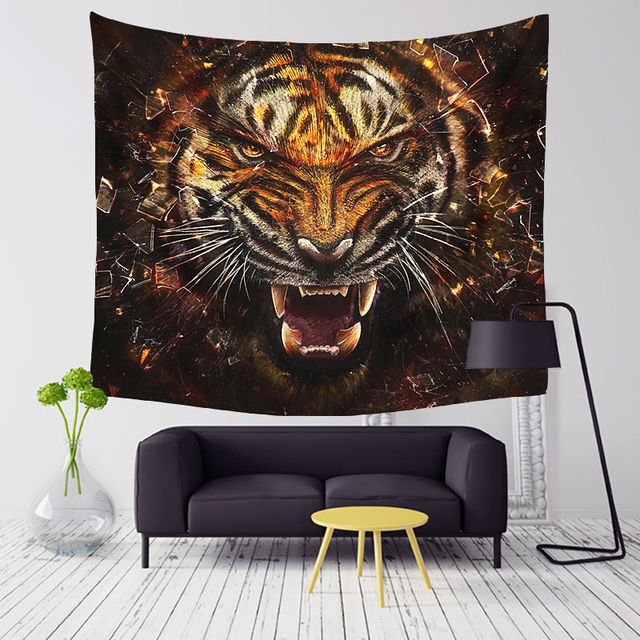 Comwarm Wild Tiger Series Pattern Polyester Tapestry Wall Hanging Cool Tigers Cozy Leopard Family Beach
