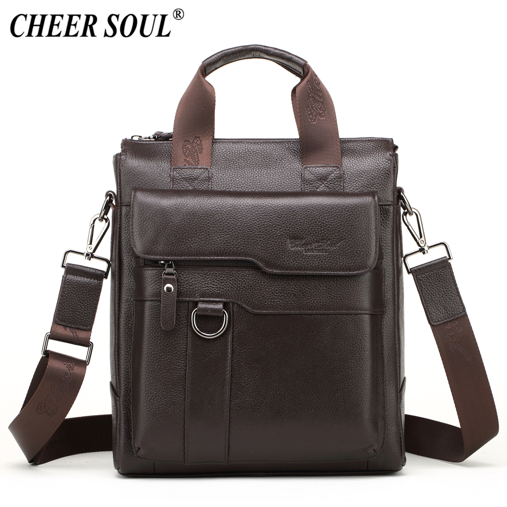 CHEER SOUL Genuine Leather Shoulder Bag Men Business Briefcase Documents Laptop  Bag Male Crossbody Messenger Bags 61ae2525ded2b