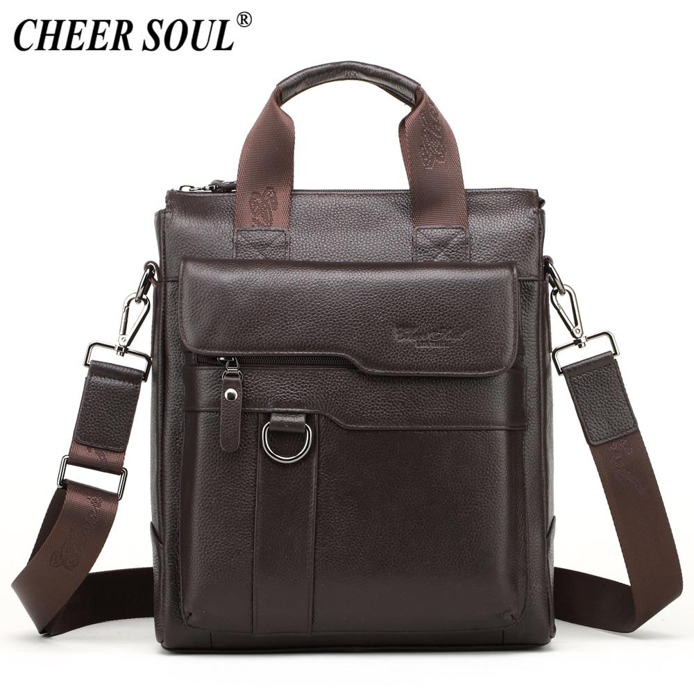 CHEER SOUL Genuine Leather Shoulder Bag Men Business Briefcase Documents Laptop Bag Male Crossbody Messenger Bags