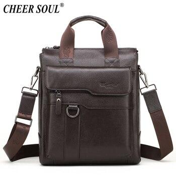 0410500ce3d1 CHEER SOUL сумка на плечо из натуральной кожи для мужчин, деловой портфель,  мужская сумка для ноутбука, сумки через плечо, Офисные Сумки