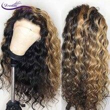 Омбре светлый цвет кружева спереди человеческие волосы парики с детскими волосами 13x4 предварительно отобранные волосы Реми бразильские волнистые волосы мечты красоты