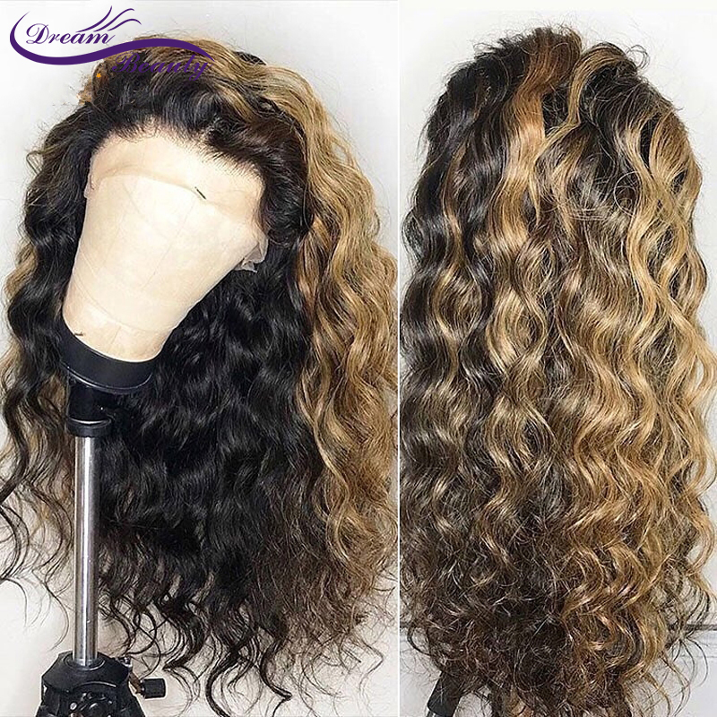 Ombre Highlight Color Lace Front Human Hair Wigs With Baby Hair Pre-Plucked Hairline Remy Brazilian Wavy Hair Dream Beauty