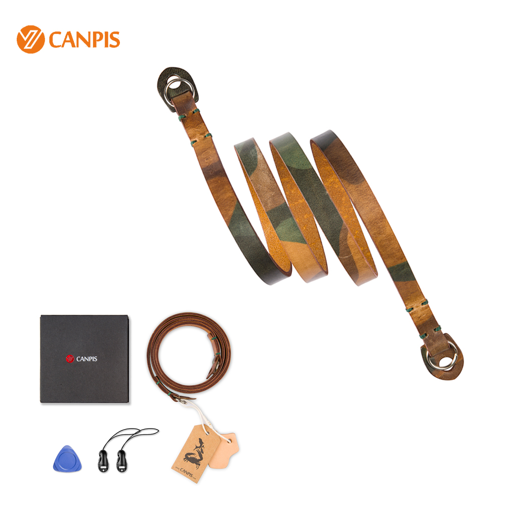 100% Genuine CANPIS Camouflage Leather Camera Shoulder Neck Carrying Strap for Leica Fujifilm DSLR Camera