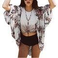 Nuevas Mujeres de la Impresión Floral de la Vendimia Estilo Kimono Cardigan Verano Batwing Manga Blusa Camisa de Las Señoras de Boho Beach Cover Up Blusas Chal