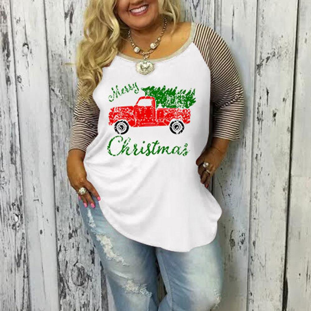 Vessos Women Plus Size Merry Christmas Baseball T-Shirt Three Quarter Sleeve Splicing Tees Top T Shirt