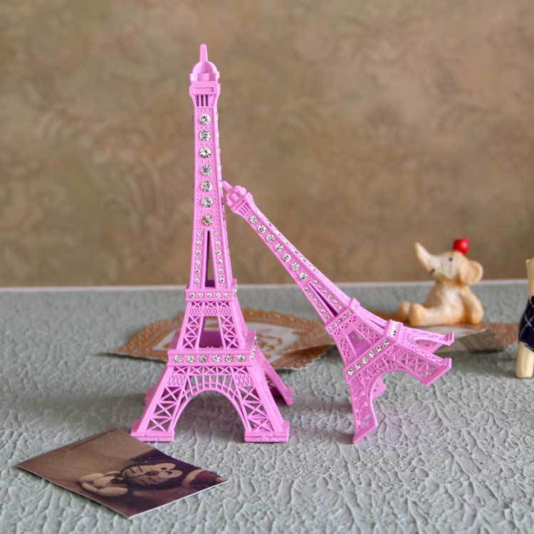 18 سنتيمتر الوردي رسمت باريس برج ايفل النحت مع حجر الراين ديكور