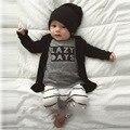 New Born Baby Set 2016 Letra Camisa de Manga Longa + Calça 2 pcs Roupas Estabelecidos para o Bebê Recém-nascido Menino Bebek