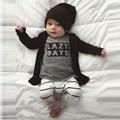 New Born Baby Set 2016 Long Sleeve Letter Shirt + Pant 2pcs Clothes Set for Newborn Baby Boy Bebek