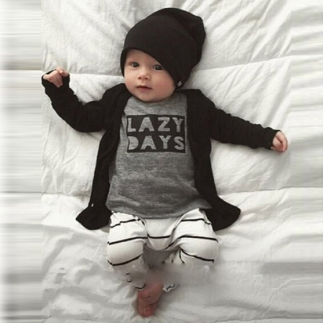 New Born Baby Set 2016 Long Sleeve Letter Shirt + Pant 2pcs Clothes Set for Newborn Baby Boy Bebek