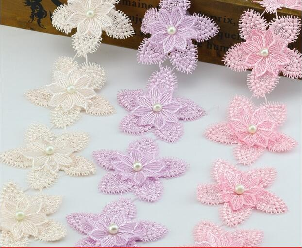 5mlot 3d Organza Five Pointed Star Pattern Lace Trims Candy Colors