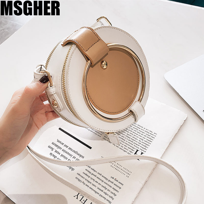 MSGHER PU Leather Fashion Women Handbag Solid Color Chain Small Round Bag Girl Cute Shoulder Messenger Bag New Simple HandbagMSGHER PU Leather Fashion Women Handbag Solid Color Chain Small Round Bag Girl Cute Shoulder Messenger Bag New Simple Handbag
