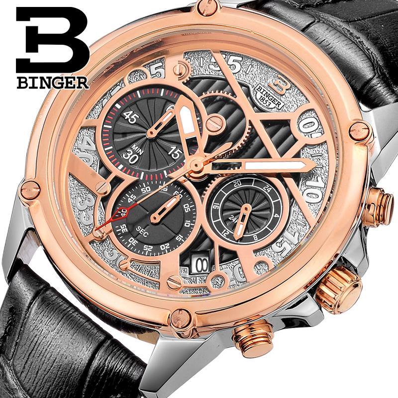 ФОТО Switzerland watches men luxury brand Wristwatches BINGER Quartz watch full stainless steel Chronograph Diver glowwatch B-6008-4