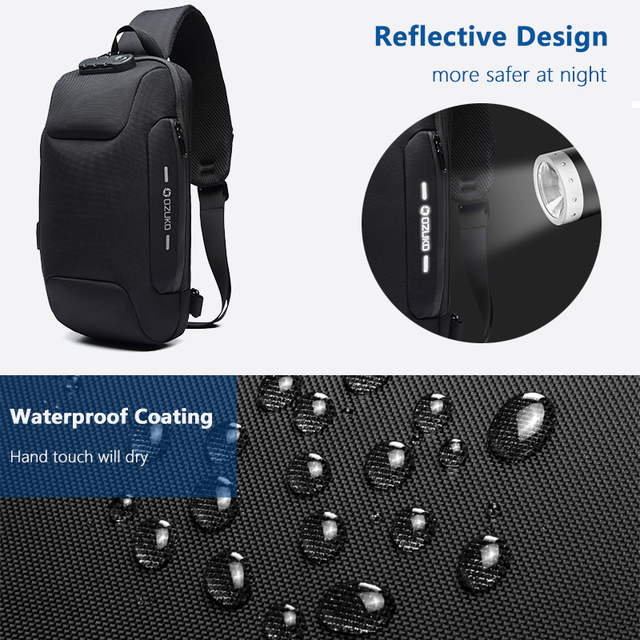 Tactical Waterproof Crossbody Bag for Men With USB Power Connector & Anti Theft Lock