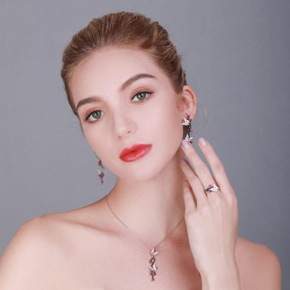UMCHO 925 bijoux en argent Sterling papillon ensemble romantique rubis noir spinelle pierres précieuses anneaux pendentif boucles d'oreilles pour les femmes cadeau - 4