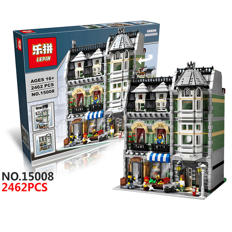 Lepin 15008 2462Pcs City Street Green Grocer Model Building Kits Blocks Bricks Compatible Educational toys 10185 Children Gift lepin 16008 4160pcs cinderella princess castle city model building block kid educational toys for gift compatible legoed 71040