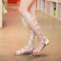 2015 Ladies Rome Lace Up Cross Strap Woman Knee High Gladiator Sandals Boots Flat Flip Flop