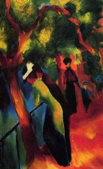 High quality Oil painting Canvas Reproductions Sunny way (1913) By August Macke hand painted