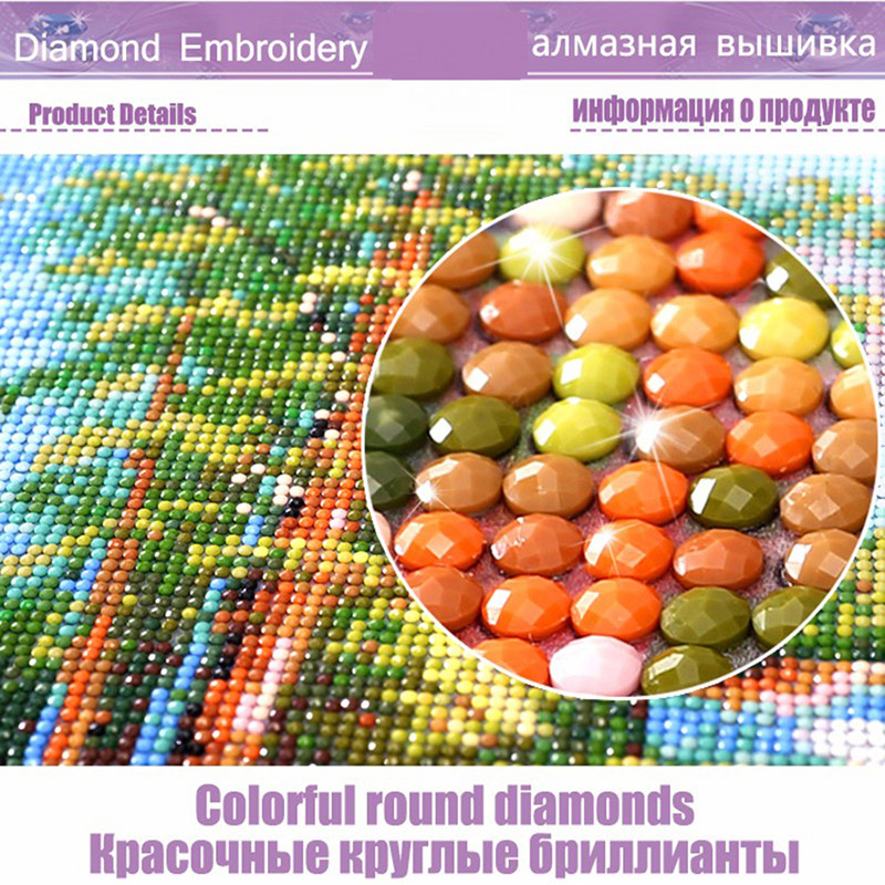 Full 5D Night Street Round Homlif Hobby Decoration Embroidery Diamond Painting Landscape 3D Mosaic Diament Arts Crafts