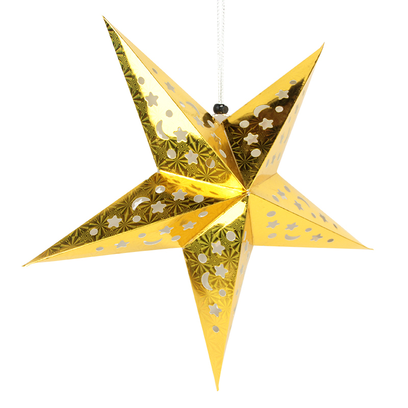 Christmas Paper Star Lanterns Decoration 1pc/set Laser Gold&Silver Christmas Ornaments Home Party Festival Decoration Supplies
