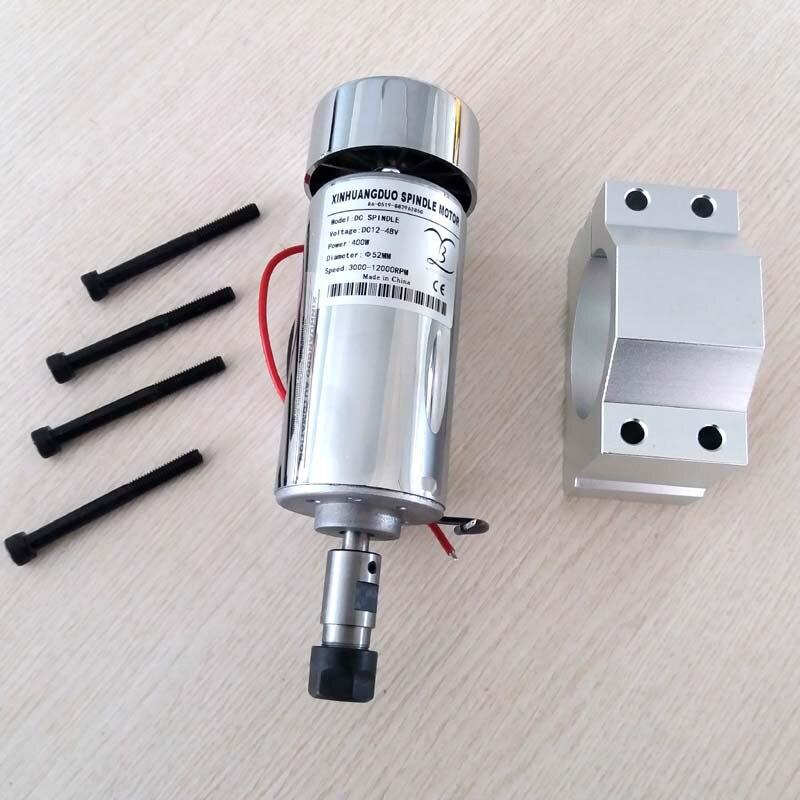 Moteur de broche 400 W DC refroidi par air 0.4KW 12-48 V DC ER11 recueillir + 52mm montage support pour machine de CNC PCB